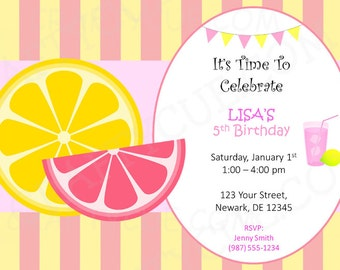 Lemonade Birthday Invitation - Lemonade Birthday Invite - Lemon Invitation - Lemonade Invitation