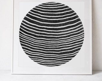Abstract Circle Print, Abstract Art Print, Square Print Black and White Wall Art Printable Art, Abstract Print Modern Art Downloadable Print
