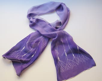 Purple Ombre Neuron Scarf in Silk Chiffon
