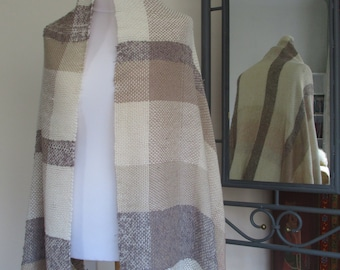Cafe latte - hand-woven supersize shawl / throw