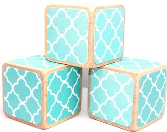 Wood Blocks - Turqouise - Teal - Baby Blocks - Ombre - Baby Shower Gift - Nursery Room Decor - 2 Inch Blocks