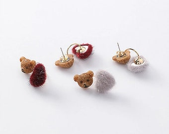 Fashion Jewelry Korean Style K-Pop velvet bear Stud Earrings