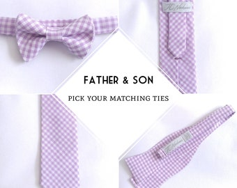 Pick your combo, father & son matching set, available in Traditional necktie, Modern necktie, Freestyle bowtie, and boys' bowtie