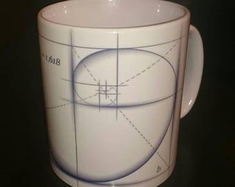 Fibonacci Sacred Geometry Design MUG - Golden Ratio 1.618 10oz Mug.