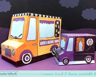 halloween candy box i-scream truck & hearse - candy favor boxes, gift box, party centerpiece printable PDF kit - INSTANT download