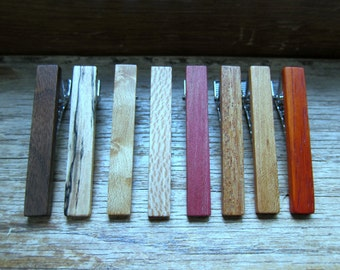 10 Wood Tie Clips - Groomsmen gift - 5th wedding anniversary present