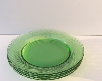 Four Vintage Pyrex Green Glass Dinner Plates