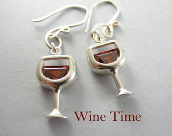 Holiday Wine Time Merlot Wineglass Sterling Silver and Cubic Zirconia Glass of Red Wine Earrings