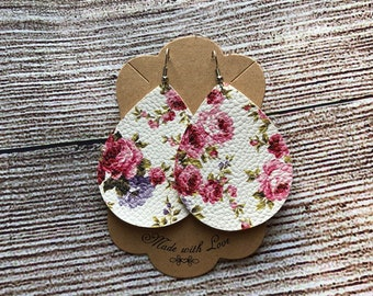 White Floral Dangles * Faux Leather * Gift * Jewelry * Springtime