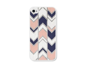 iPhone 4s Case iPhone 5s Case iPhone 4 Case iPhone 5 Case iPhone 4s Cases iPhone 5s Cases iPhone 5 Cases Peach Navy Herringbone Chevron
