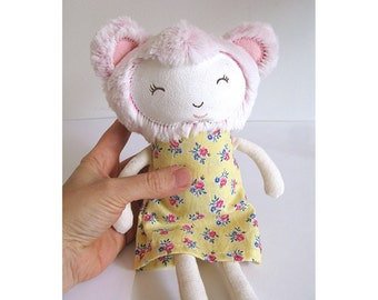 Plush Bear Girl - Pink fur, light yellow flower dress, cute face doll
