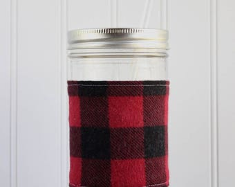 Red & Black Buffalo Check Flannel Mason Jar Sleeve - for PINT AND A HALF Mason Jar (24 oz)