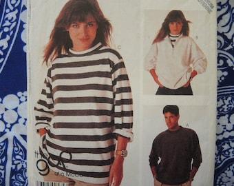 vintage 1980s McCalls sewing pattern 3340 misses' or men's tops size medium UNCUT