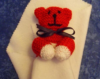 """""""Bear"""" plush red and white knit"""