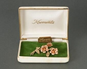 Vintage Krementz Pink Gold Roses Brooch  Origional Box