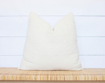 Cream Mudcloth Pillow Cover | Authentic African Mud Cloth | White Mudcloth | 22x22 | No44