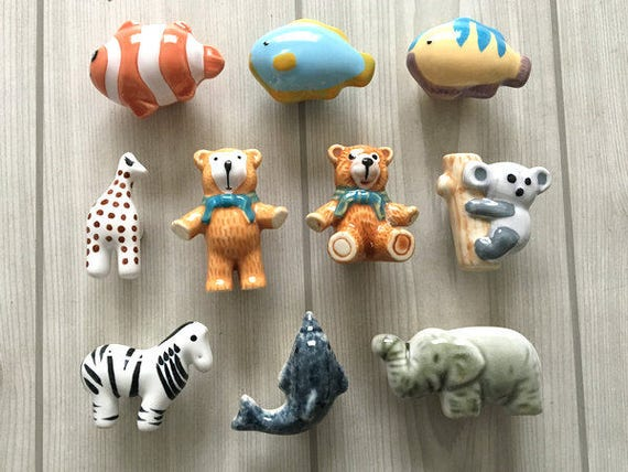 Charmant Bear Fish Koala Dolphin Zebra Elephant Giraffe Kids Dresser Knob Drawer  Knobs Pulls Handles Ceramic Kid Cabinet Door Knobs Animal Children From ...