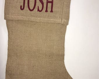Custom burlap Christmas stocking