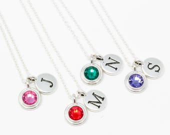 Silver Birthstone and Initial Necklace - Birthstone Jewelry - Monogram Necklace - Birthday Gift - Initial Charm - Personalized Gift