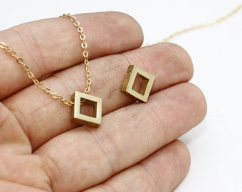 3 Pcs Raw Brass Square Pendant, 10mm initial Pendant, Geometric Charms, Rectangle, Raw Brass Pendant, SOM174