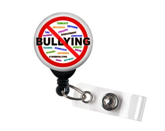 No Bullying, badge reel, retractable ID badge, ID holder, School, Education,