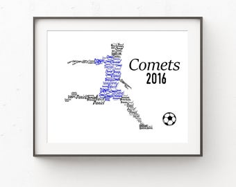 Soccer Player Gifts, Soccer Gifts, Soccer Print, Personalized Soccer, Soccer Team Gift, Team Gifts, Name Print, Wall Art, Wall Decor