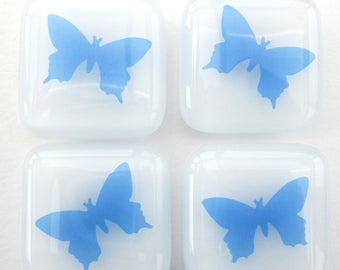 Blue butterflies fridge magnets, butterfly magnetic pin set, decorative refrigerator magnet, memo board magnet, home office supplies,