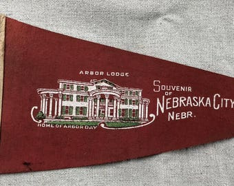 Vintage Arbor Lodge Souvenir of Nebraska City Felt Pennant