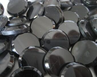Set of 55 VINTAGE Flat Black Glass BUTTONS