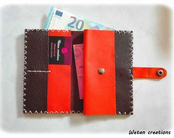Wallet - door - coin man / woman brown leather and orange all in 1