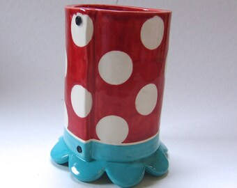 retro pottery Utensil Holder or pencil cup, bright Red & Turquoise / home office desk kitchen storage solution whimsical Vase