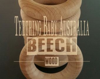 Beech Wood Teething ring, 65mm x 15mm thick - Sanded - Toy & Safety compliant AS/NZS