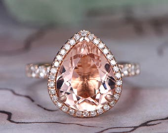 10x12mm Pear Cut Morganite Engagement Ring,14k Rose Gold,Anniversary ring,Promise ring,Art deco Halo,Diamond Wedding Band,Prong,Gift for her