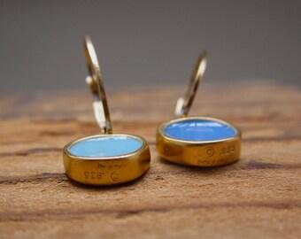 Something Blue - Reversible Enamel and Vermeil Earrings in Sky Blue and Periwinkle