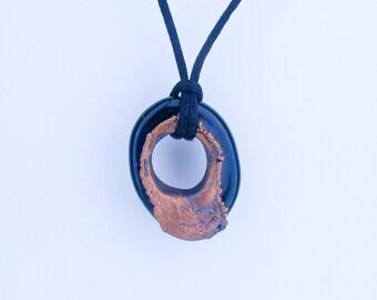 Glass pendant, Handmade Heady Glass, lampwork Art Glass,  Electroform Copper Pendant, Borosilicate Jewelry, Hand Blown Glass, Organic Boro