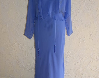 Ursula Of Switzerland Formal Full Length Dress With Periwinkle Color Size 8 For Repurposing Or Upcycling DRESS HAS FLAWS
