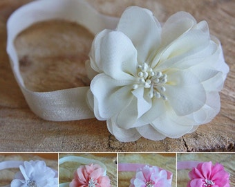 Soft Headband Hair Band Chiffon Flower Pearls Baby Girl Christening Wedding