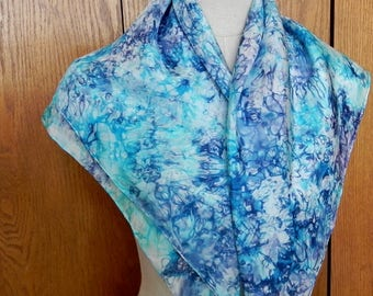 """30"""" square silk scarf hand dyed in shades of purple violet and turquoise blue is ready to ship, silk scarf # 544"""