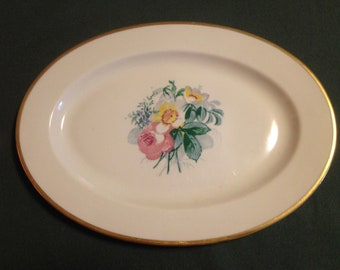 "Lamberton Ivory China  Spring Garden 14"" Oval Serving Platter Plate"