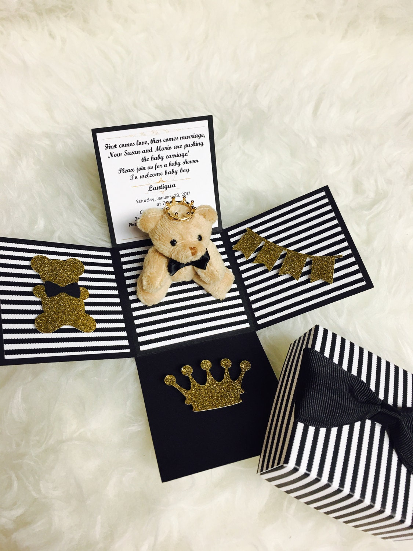Black bow tie teddy bear Baby shower invitation. Teddy bear