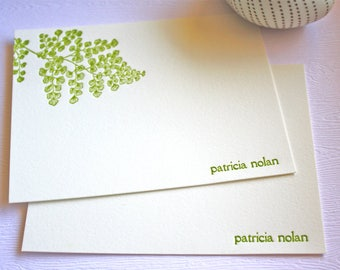 Personalized Letterpress Stationery Hawaiian Maidenhair Fern  ʻIwa ʻIwa