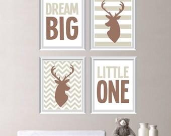 Baby Boy Nursery Art - Deer Nursery Art - Deer Nursery Decor - Deer Bedroom Art - Dream Big Little One Deer Print - Pick the Size (NS-198)