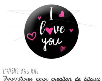 2 cabochons craft St Valentine's day I love You more 1561 glass 20 mm-