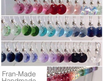Fran Made Handmade Swarovski crystal drop earrings on hypoallergenic ear wires