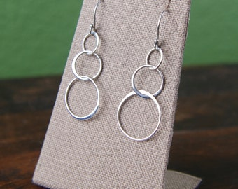 Sterling silver linked circle earrings, interlocking, three rings, entwined circles, infinity, fashion earrings
