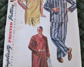 Vintage 1950's Mens Pajamas Night Shirt Sewing Pattern Simplicity 4108 Size Medium