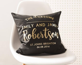 Personalised Black And Gold Wedding Cushion Pillow