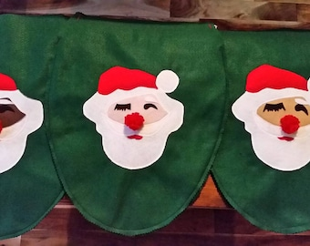 Santa Toilet Seat Cover Hiding Eyes Felt red green white, dark, medium & light skin tone Santas, Vintage inspired Christmas bathroom decor