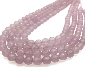 8mm Faceted Purple Jade Beads, Gemstone Beads, Wholesale Beads