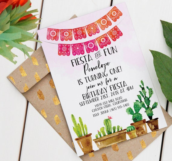 Fiesta Birthday Invitation Editable Printable Invitation